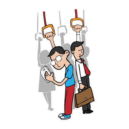 Man uses smart phone on subway cartoon