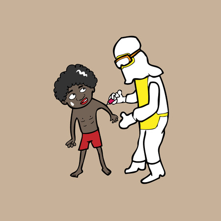 Scientist inject vaccine for African kid Vector