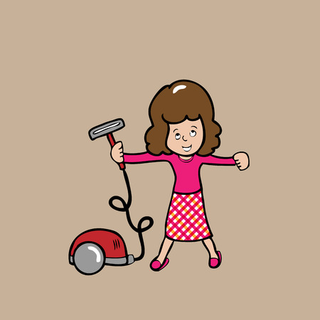 Woman clean house with vacuum  Vector