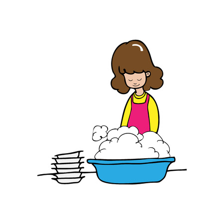 Woman washes dishes cartoon vector Vector