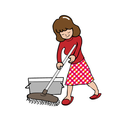 Woman mopping house cartoon vector Vector