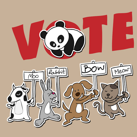 Animals hold protest banners cartoon Vector