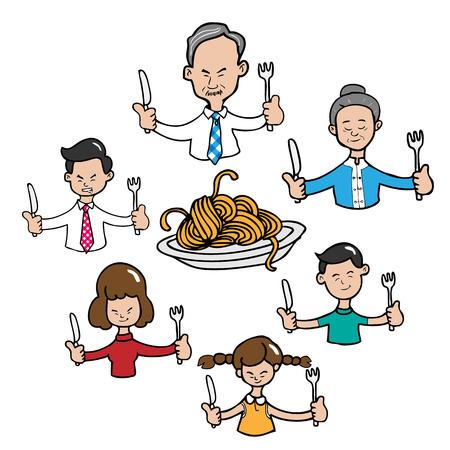 familia asiatica: Familia asi�tica junto comida dibujos animados