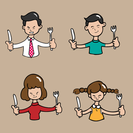 Asian family meal together cartoon Vector