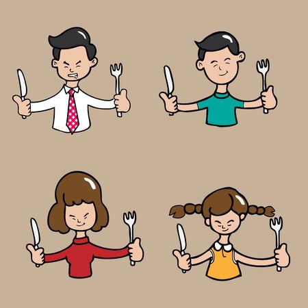 Familia asiática junto comida dibujos animados