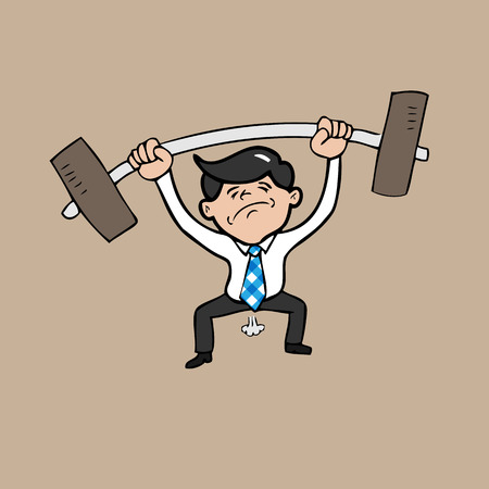 Businessman attempt weight lifting cartoon Vector