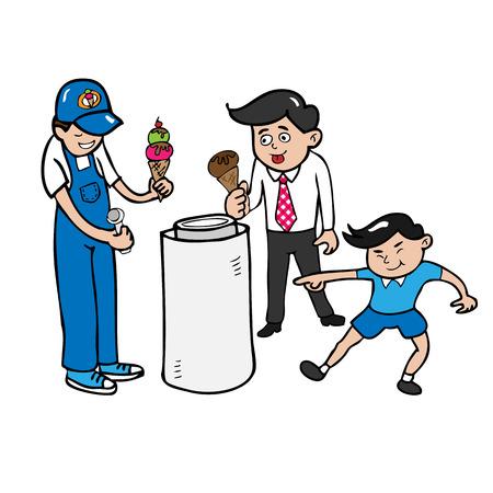 Man ice cream vender cartoon Vetores