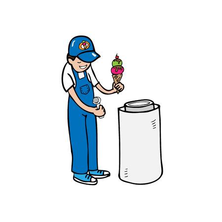 Man ice cream vender cartoon