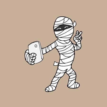telefono caricatura: Selfie de dibujos animados de tel�fono inteligente de la momia