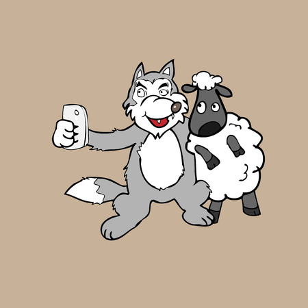 sham: Selfie wolf and sheep cartoon vector Illustration