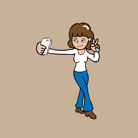 smart girl: Selfie girl smart phone cartoon vector