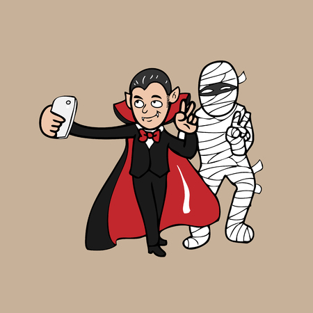 Selfie vampire and mummy cartoon Vector
