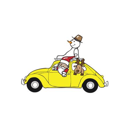 Santa snowman reindeer in beetle car Vector