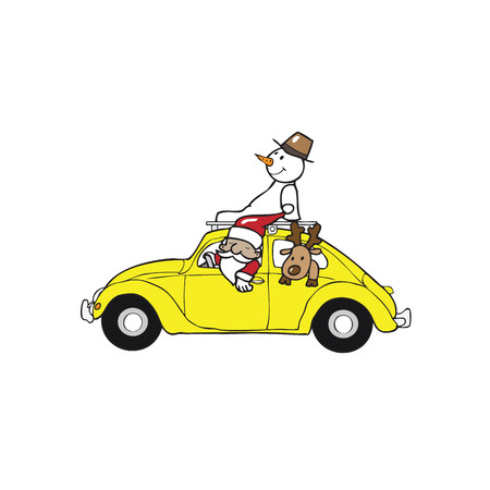 Santa snowman reindeer in beetle car