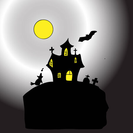whining: Halloween castle in moon light