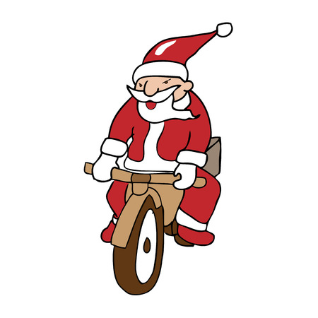 Santa ridding bike cartoon vector Vector