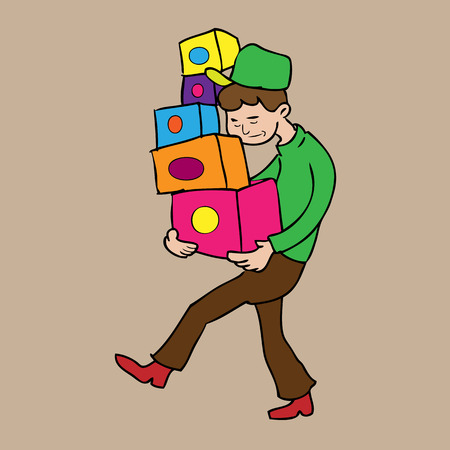 Man carries boxes delivery cartoon vector Vector