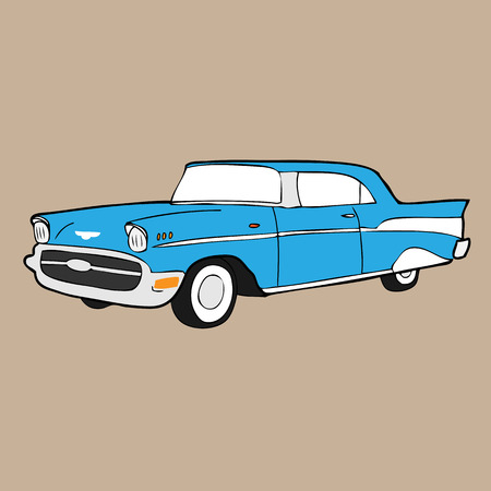 chevy: Classic retro car cartoon drawing Illustration