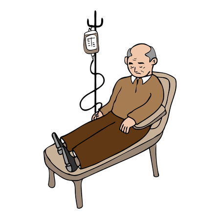 Old man treated infusion cartoon vector