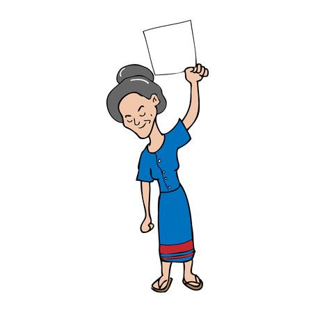 alte frau: Alte Frau leeres Blatt Cartoon-Vektor