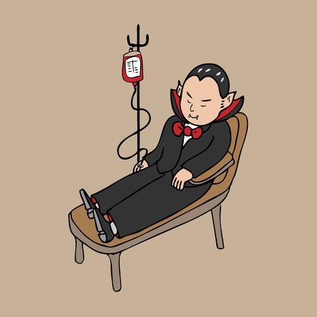 donor blood type: Vampire blood transfusion cartoon vector Illustration