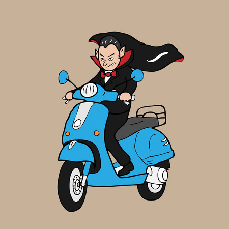 Vampire rides scooter cartoon vector Vector