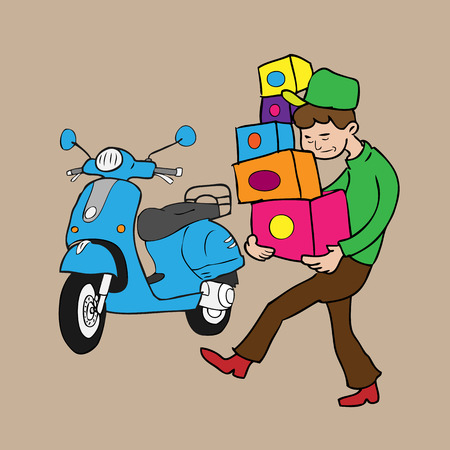 Man carries boxes delivery by scooter cartoon vector Vector
