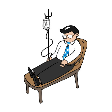dialysis: Businessman infusion medicine cartoon vector