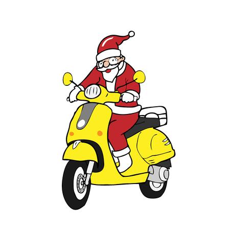 Santa ridding scooter cartoon vector