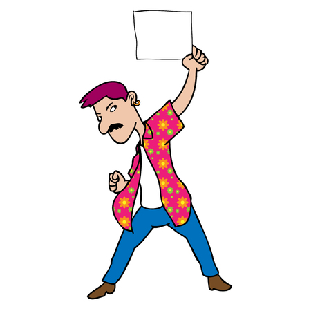 warning against a white background: Man colorful shirt blank sheet cartoon Illustration