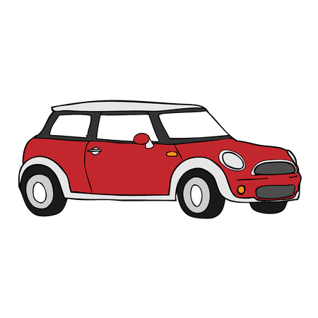 Retro classic mini car cartoon vector Vector