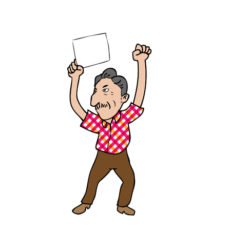 warning against a white background: Old man blank sheet cartoon vector Illustration