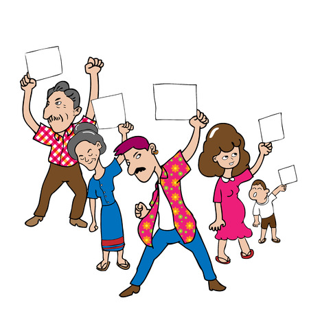 a group of people protesting: People marching protest cartoon vector