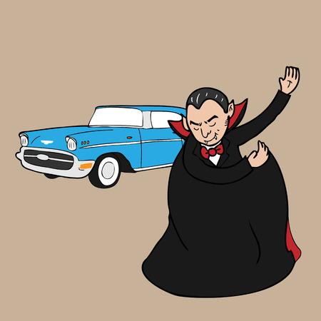 Vampire friendly invites to limousine cartoon vector Vector