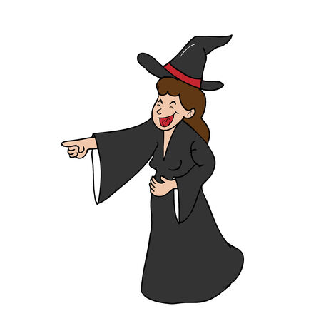 ironic: Witch laughing pointing cartoon vector