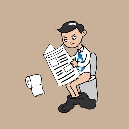 Businessman in toilet cartoon vector Vector