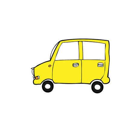 Eco car cartoon drawing vector Vector