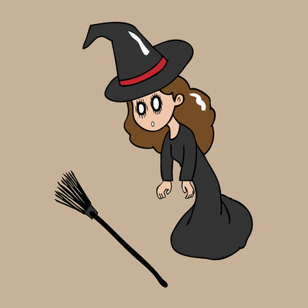 sudden: Witch stunning cartoon character vector