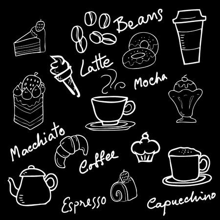 blackboard cartoon: Bakery doodle blackboard cartoon vector Illustration