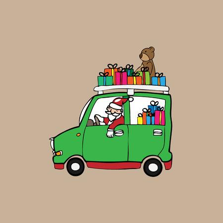 Christmas Santa drives car cartoon vector Vector