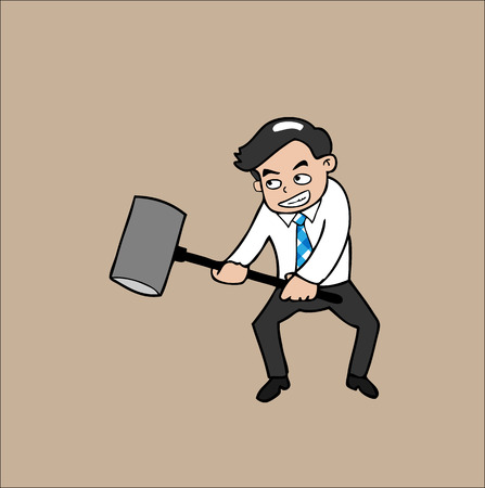 Businessman holds hammer cartoon Vector