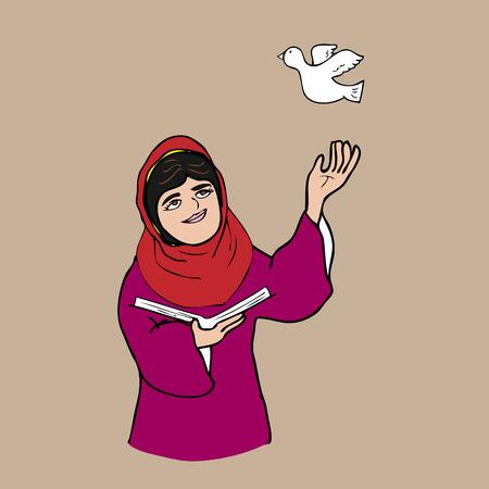 Muslim girl book and peace cartoon Ilustração
