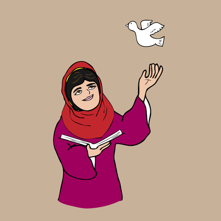 Muslim girl book and peace cartoon Imagens - 32696542