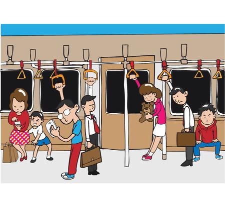 estacion tren: La gente en el transporte p�blico de metro Vectores