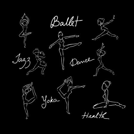 Ballet dance doodle drawing blackboard Vector