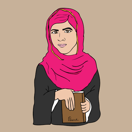 Muslim girl book and peace cartoon vector