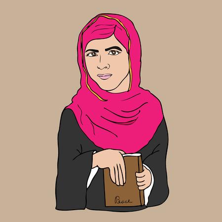 nobel: Muslim girl book and peace cartoon vector
