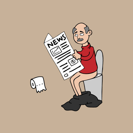 Old man toilet newspaper cartoon vector Çizim