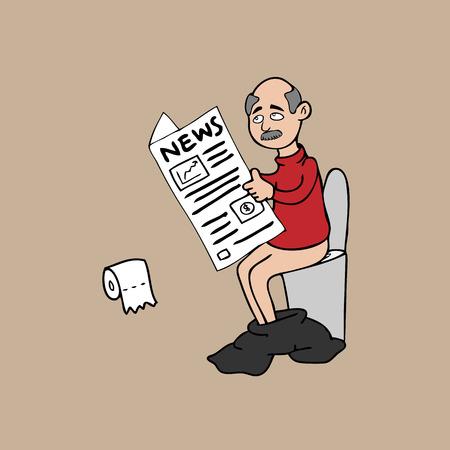 toilet paper art: Old man toilet newspaper cartoon vector Illustration