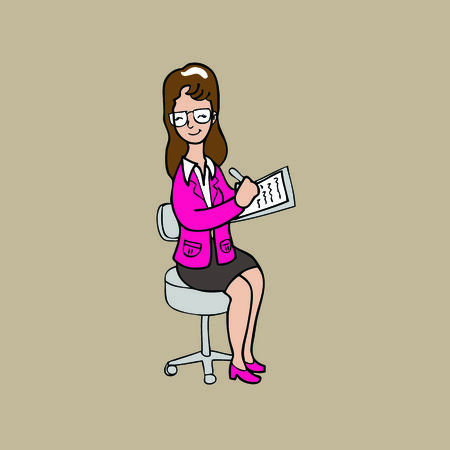writing chair: Woman takes note on chair cartoon vector